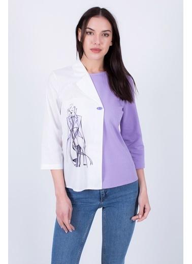 Clıche  Asimetrik Bluz Lila